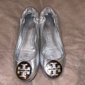 Authentic Tory Burch Silver Flats